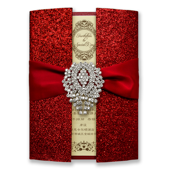 30 pcs Luxury Shiny Red Wedding Invitation Cards - Set of 30