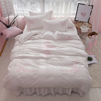 Luxury embroidered white blue bedding sets king queen twin size 100% cotton duvet cover bed sheet sets for girls pillowshams 36