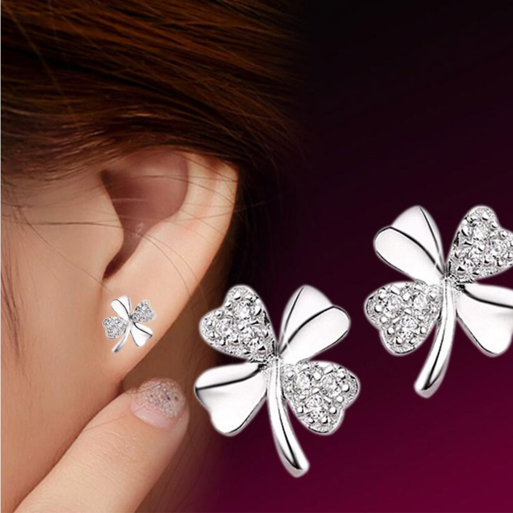 Anenjery Hot Sale 925 Sterling Silver Earrings brincos pendientes Lucky Clover Stud Earrings For Women Gift oorbellen S-E55(China)