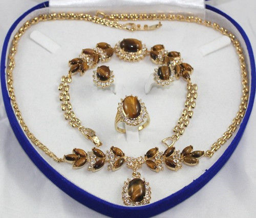 18 K or jaune GP Inlay oeil de tigre collier Bracelet boucle d'oreille anneau aucune boîte ^^^@^ Noble style fin naturel jewe gratuite