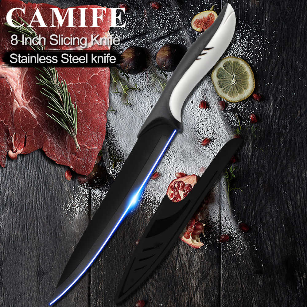8 inch Slicing Knives Stainless Steel Kitchen Knife Japanese 3CR13 High Carbon Stainless Steel Vege Slicer Cooking Knife Tool