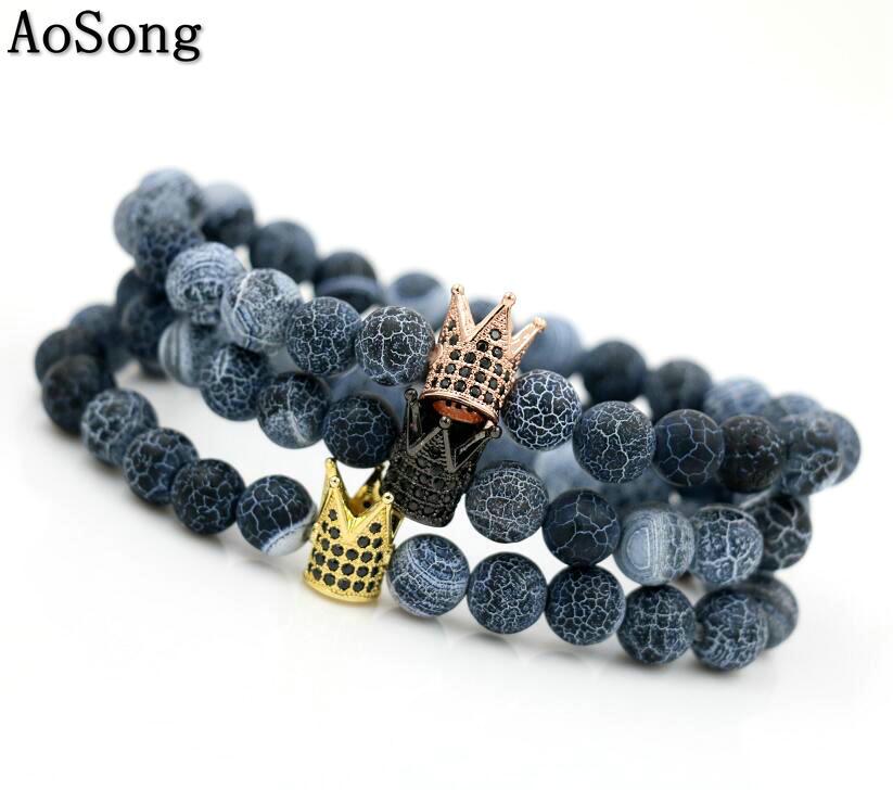Independent Bppccr Onyx Stone Men Reiki Imperial Crown Cz Beads Bracelets Bracelets & Bangles Strand Bracelets Gold Color Micro Pave Hombres Chakra Pulseira Feminina