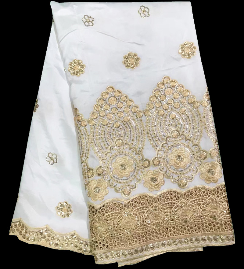 Free shipping 5yards white and gold African george lace fabric with sequins embroidery and guipure design for party dress GLC03Free shipping 5yards white and gold African george lace fabric with sequins embroidery and guipure design for party dress GLC03