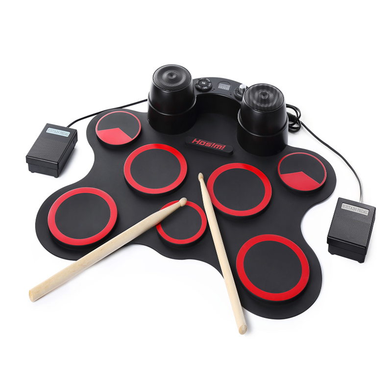 HOT-Stereo Electronic Drum Set 7 Silicon Electronics Drum Pads Built-in Speakers USB Recording Function with Drumsticks Pedals support usb midi colorful portable roll up electronic drum set 9 silicon pads built in speakers with drumsticks foot pedals