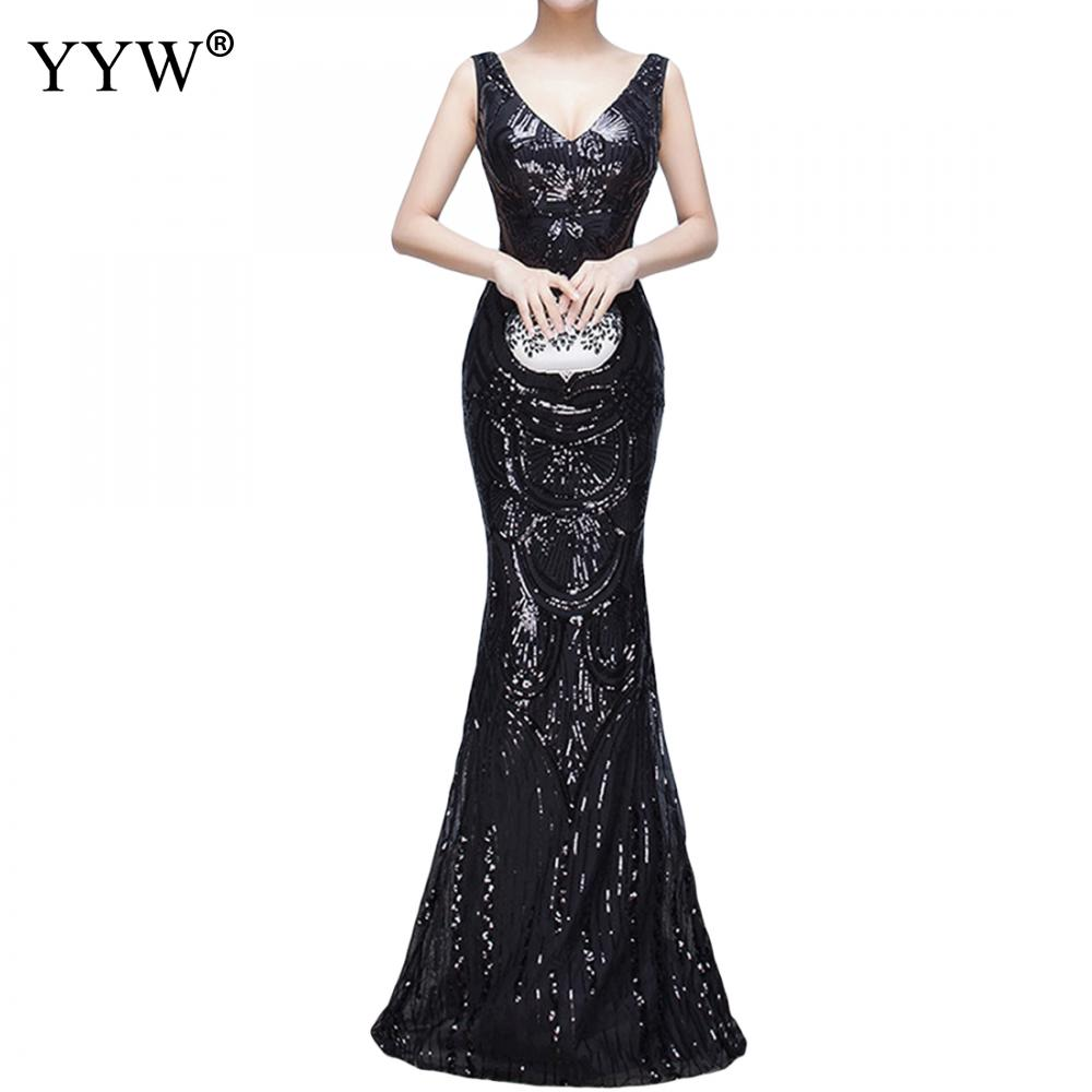 V Neck Sequined Party Dresses Women Luxury Elegant Evening Gowns Backless Sleeveless Floor Length Formal Occasion Wear For Women