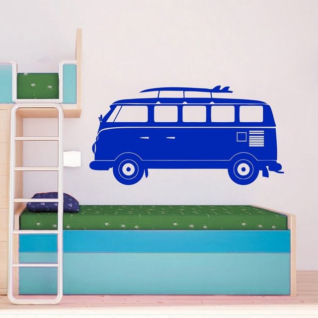 Cartoon VOLKSWAGEN Camper Van Wall Art Vinyl Decal Sticker Kids Room Retro Decor