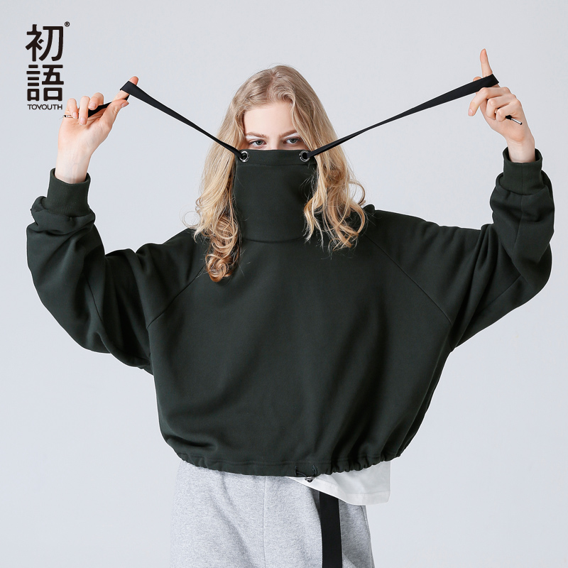 Toyouth Crop Top Hoodie Women Sweatshirts 2018 Autumn Casual Solid Color Turtleneck Long Sleeve Short Style Loose Pullovers casual style long raglan sleeve solid color women s hoodie