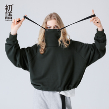 Toyouth Sweatshirts 2017 Autumn Women Solid Color Casual Short Style Loose Turtleneck Thin Pullover Hoodies