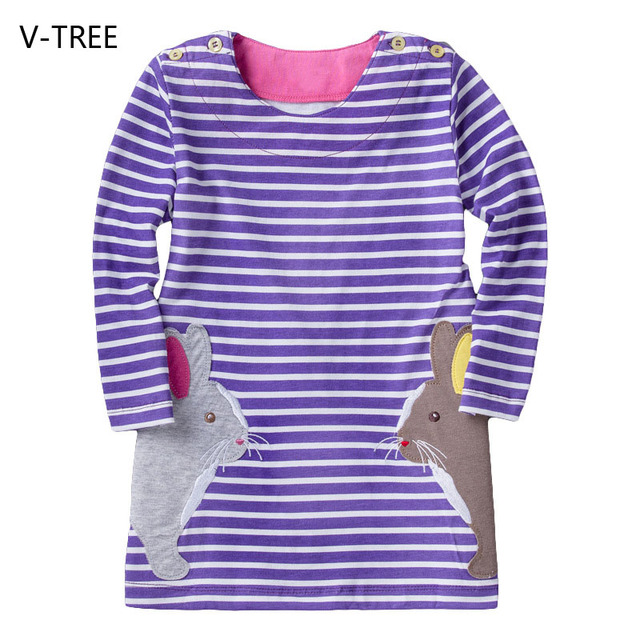 Baby girl clothes Spring and Autumn girls cartoon animal dress children striped dress for girls
