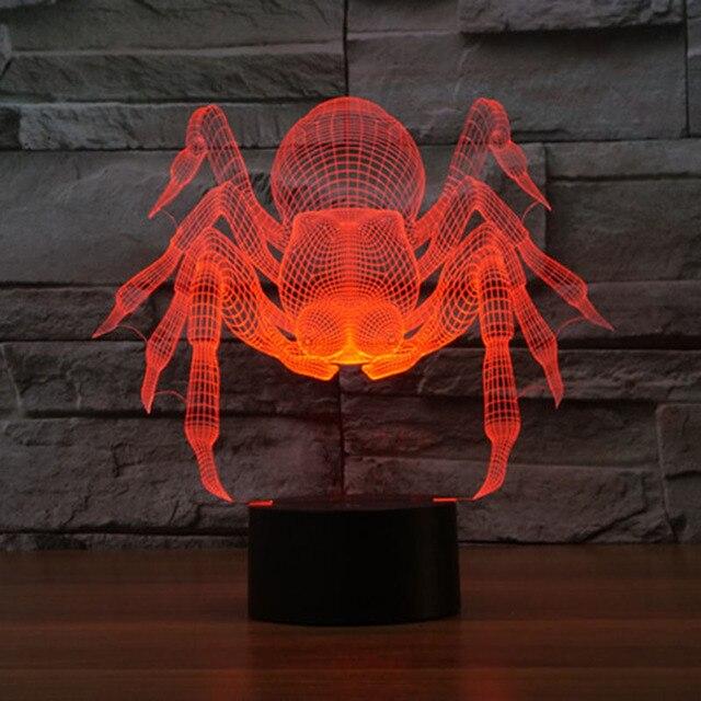 Cartoon Monster Spinne 3d Lampe Decor Kreative Nachtlicht 7 Farben