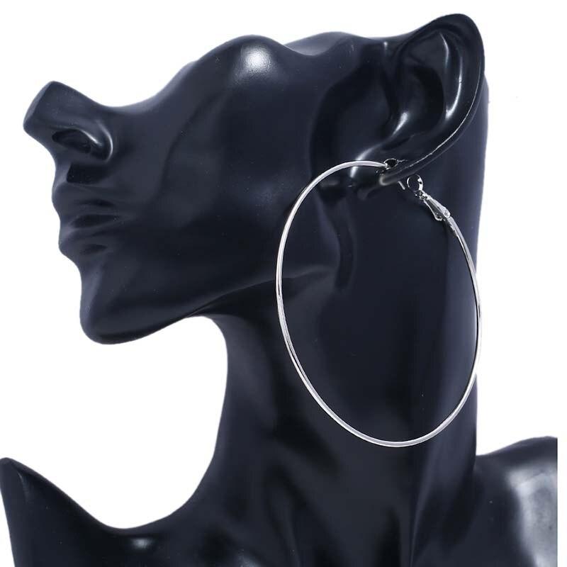 MJARTORIA Hot Sale sliver Hoop Earrings Big Smooth Circle Earrings Basketball Brincos Brand Loop Earrings for Women Jewelry