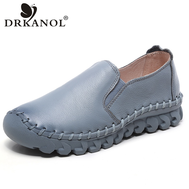 DRKANOL Spring Women Flat Shoes Cow Genuine Leather Slip On Loafers Handmade Sewing Flats Soft Comfortable Women Casual Shoes timetang spring womens ballet flats loafers soft leather flat women s shoes slip on genuine leather ballerines femme chaussures