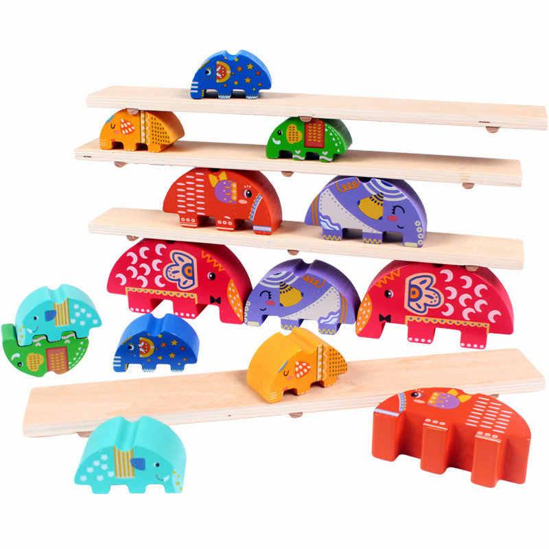 Детский слон Seesaw баланс луч деревянные блоки игрушки Классический Монтессори деревянный блок 14 шт. слон ребенок ранняя тренировочная игрушка