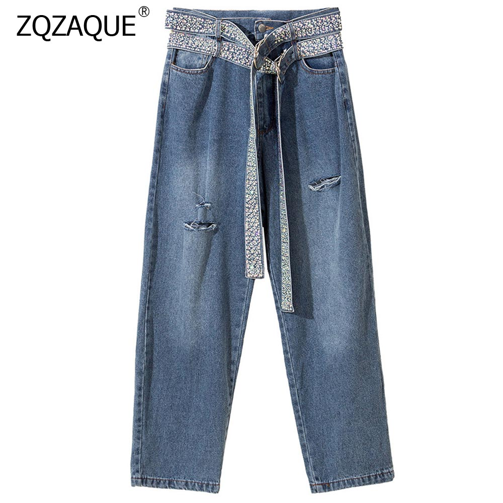 Fashion Street Style Women's Luxury Beading Denim Pants Double Sashes Zipper Waist Broken Hole Straight Pants Nice Trousers YJ12