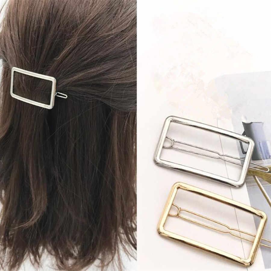 Nieuwe Koreaanse stijl netto rood goud en zilver kant clip geometrische rechthoek pony clip gebroken haarspeld tak haaraccessoires