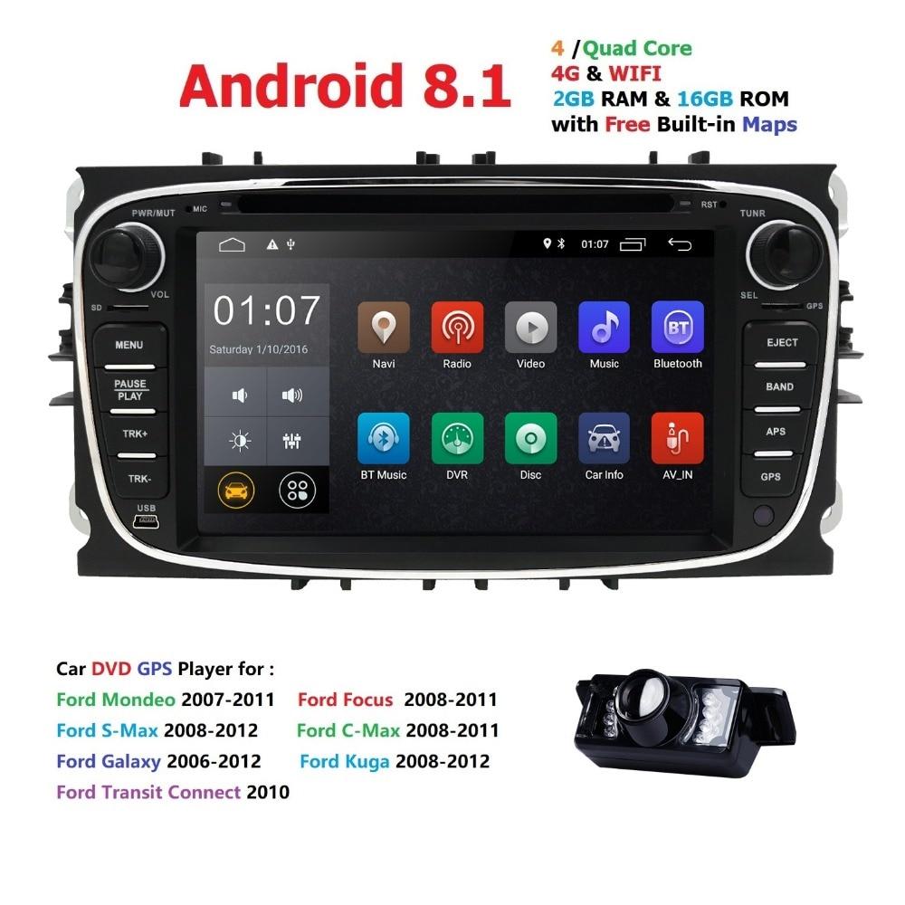 4G WIFI DVR DAB 2din Android8.1 Quad Core lecteur DVD de voiture GPS Navi pour Ford Focus Mondeo Galaxy avec Audio Radio stéréo unité de tête