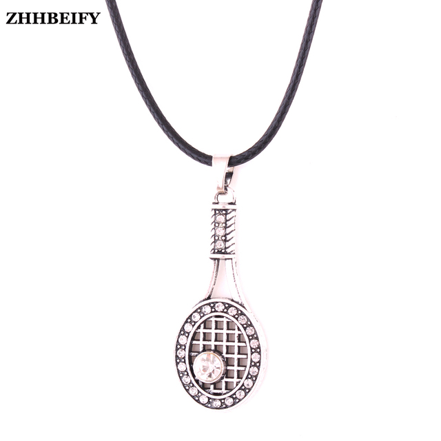 Rhinestone tennis racquet racket charm zinc studded with sparking rhinestone tennis racquet racket charm zinc studded with sparking crystal sports pendant necklace with black leather mozeypictures Gallery