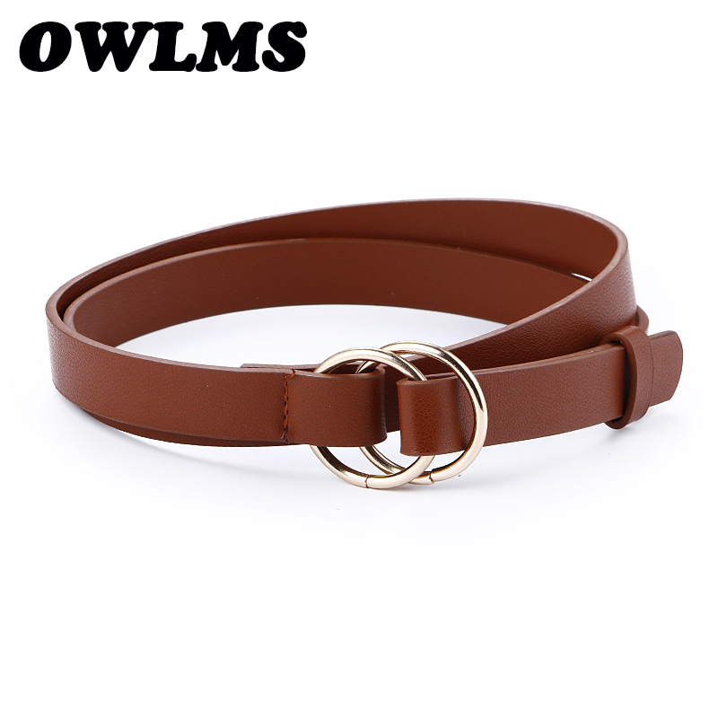 Women's Belts Double Buckle Gold Circle Simple Design Belly Thin Leather Belt Dress Knot Round Buckles Student Strap Belt Girl