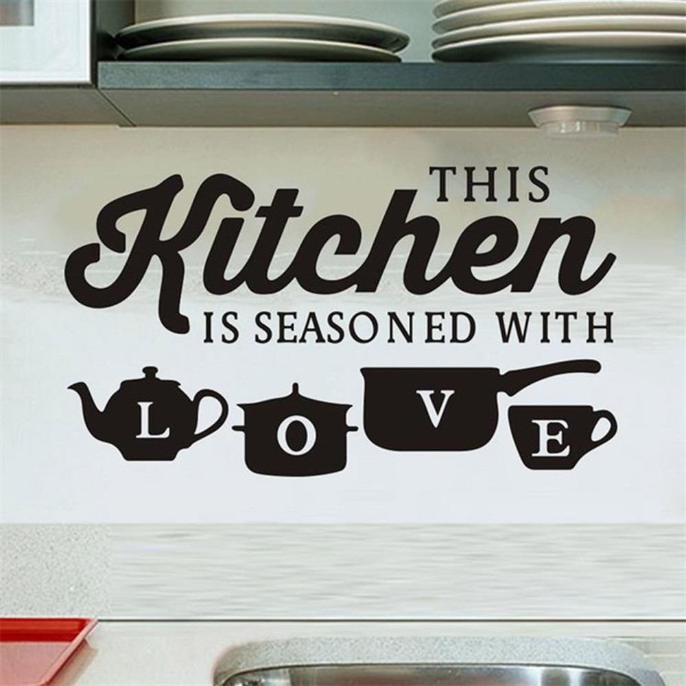 Fashion Elements Kitchen Restaurant Creative Carved Wall Stickers Removable Decoration Gift DIY Decal