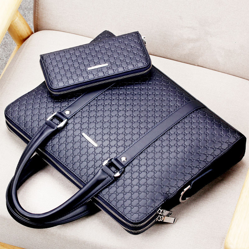Casual Man Shoulder Bag New Double Layers Men Leather Business Briefcase Messenger Bag Male Laptops Handbags Men's Travel Bags