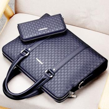 Dorywczo torba męska na ramię nowa podwójna warstwa męska skórzana walizka biznesowa torba męska laptopy torebki męskie torby podróżne tanie i dobre opinie Oyixinger Torby na ramię Laptop teczki W101-TX zipper Mikrofibra Plaid Macbook pro 13-calowy Laptop Briefcases Black Blue
