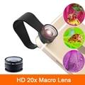 Alta calidad super 20x lente macro para samsung galaxy s3 s4 s5 s6 s7 borde nota 2 3 4 5 7 microscopio teléfono móvil cámara de lentes