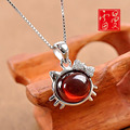 2017 new Korean style Lehman 925 Sterling Silver Pendant Natural semi-precious stones kitty cat Necklace Garnet ladies Jewelry