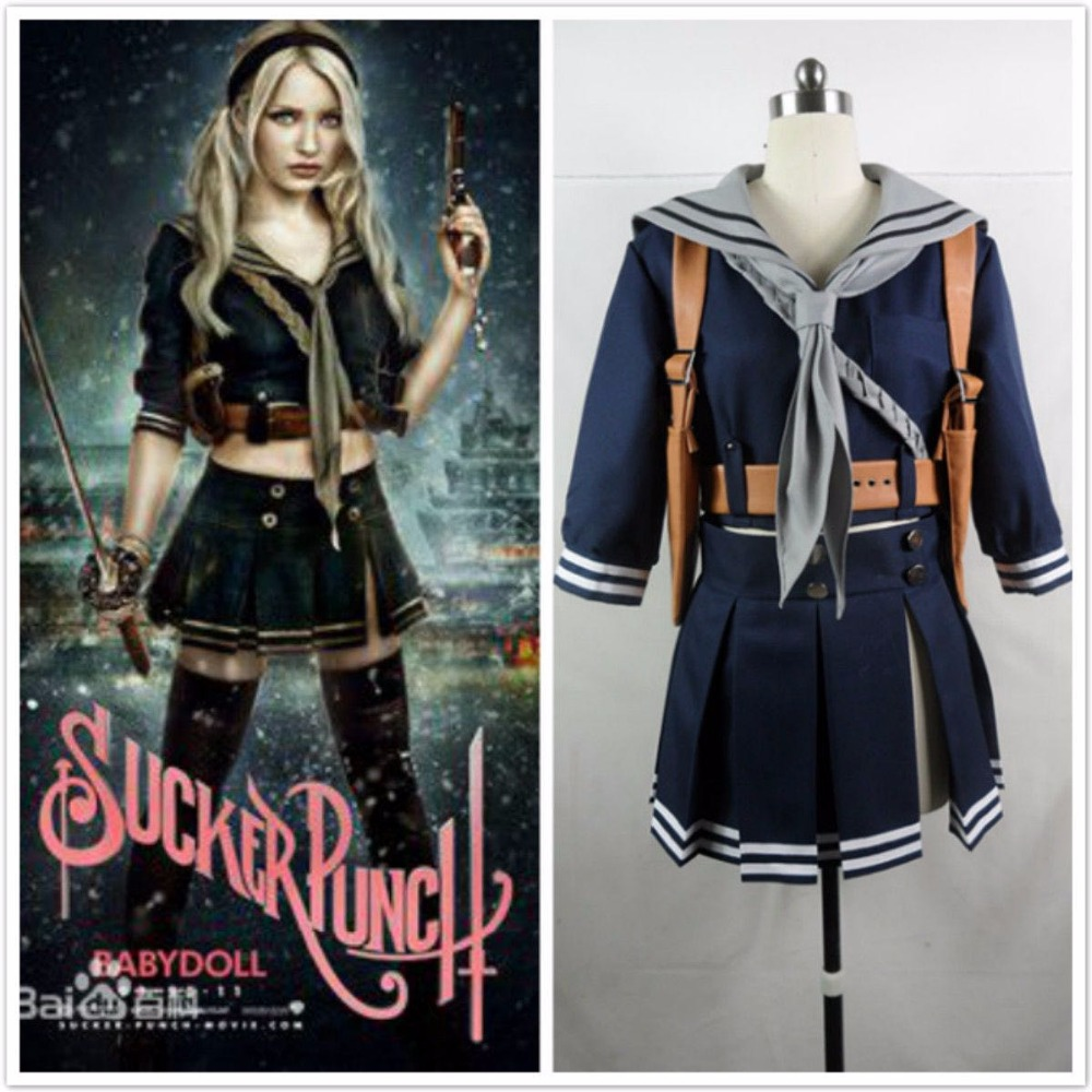 Sucker Punch Baby Doll Set Outfit Cosplay Jacket Skirt Belt Scarf Holder Halloween Cosplay Costume Full