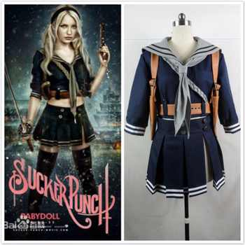 Sucker Punch Baby Doll Set Outfit Cosplay Jacket+Skirt+Belt+Scarf+Holder Halloween Cosplay Costume Full Set - DISCOUNT ITEM  5% OFF All Category