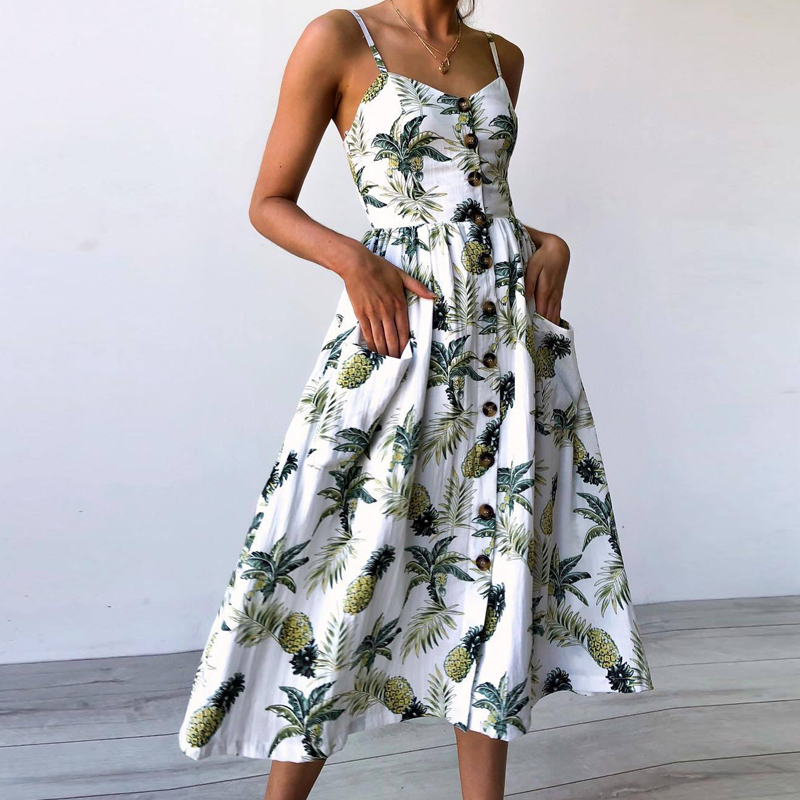 Dresses Enthusiastic Dy 2018 Women Summer Dress Boho Styles Floral Print Beach Dress Sexy V Neck Party Dress Long Sleeve Loose Vestidos Plus Size 3xl