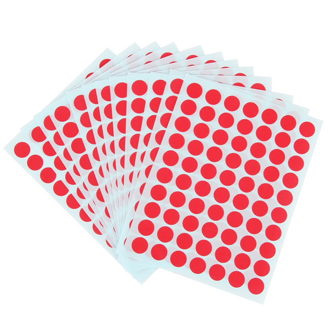 10 packs x 12 sheets green red round sticker labels self adhesive paper label stickers 90x120mm