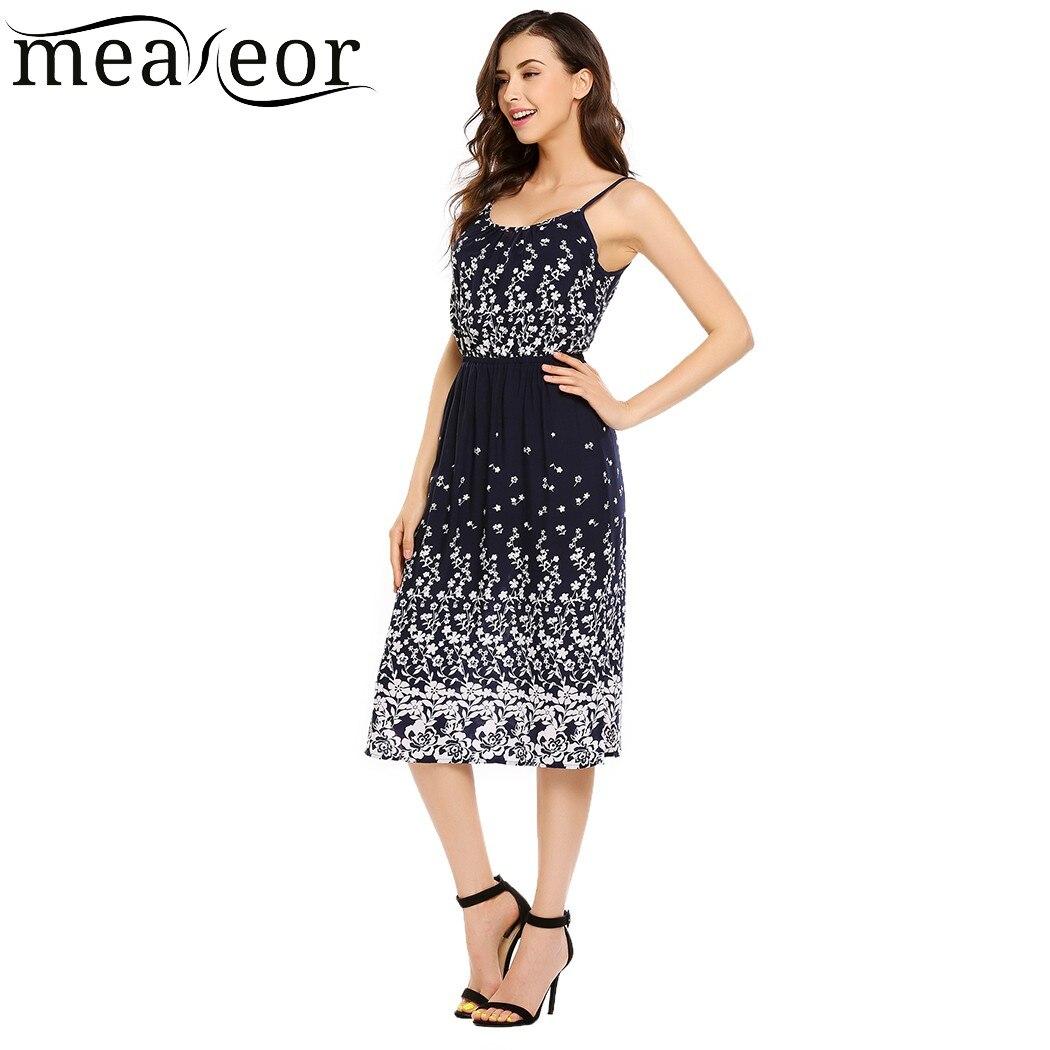 917c05d4aad Meaneor Floral Print Spaghetti Straps Sundress Women Sleeveless Calf Length  Sheath Dresses Empire Casual Summer Dress Vestidos-in Dresses from Women s  ...