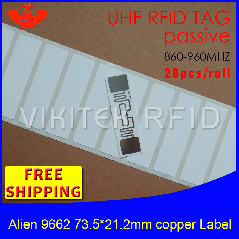 UHF RFID tag sticker Alien 9662 printable copper label 915mhz 868mhz Higgs3 EPC 6C 20pcs free shipping adhesive passive RFID lab rfid tire patch tag label long range surface adhesive paste rubber alien h3 uhf tire tag for vehicle access control