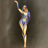 Female Costume Blue Butterfly Rhinestones Jumpsuit Sexy Stretch Crystals Bodysuit Singer Dancer Stage Performance Wear Set DT364