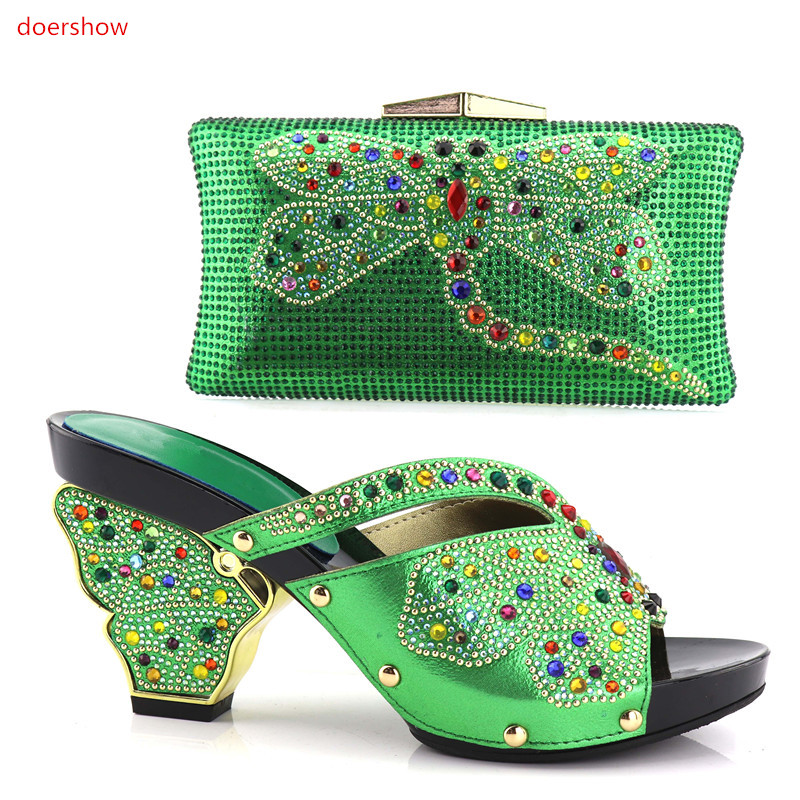 doershow  green African Matching Shoe and Bag Set Decorated with Rhinestone Nigerian Women Shoes and Bag Set for Wedding!HV1-53 doershow african shoe and bag matching set african wedding shoe and bag sets women shoe and bag to match for parties puw1 20