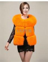 Deluxe Womens Real 100% Fox Fur Vest Casual Solid Fox Fur Outwear Luxurious Winter Fox Fur Gilet Waistcoat  LX00018-1