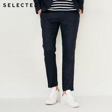 дешево!  SELECTED лен чистый цвет тонкий деловой костюм брюки длинные брюки T Лучший!
