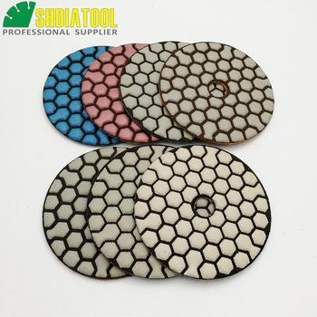 SHDIATOOL 7pcs/set 80mm Diamond Flexible Dry polishing Pad & 1pc Aluminum Based Backer Granite Marble Ceramic 3 Sanding Disc a backer grøndahl 3 claverstykker op 35