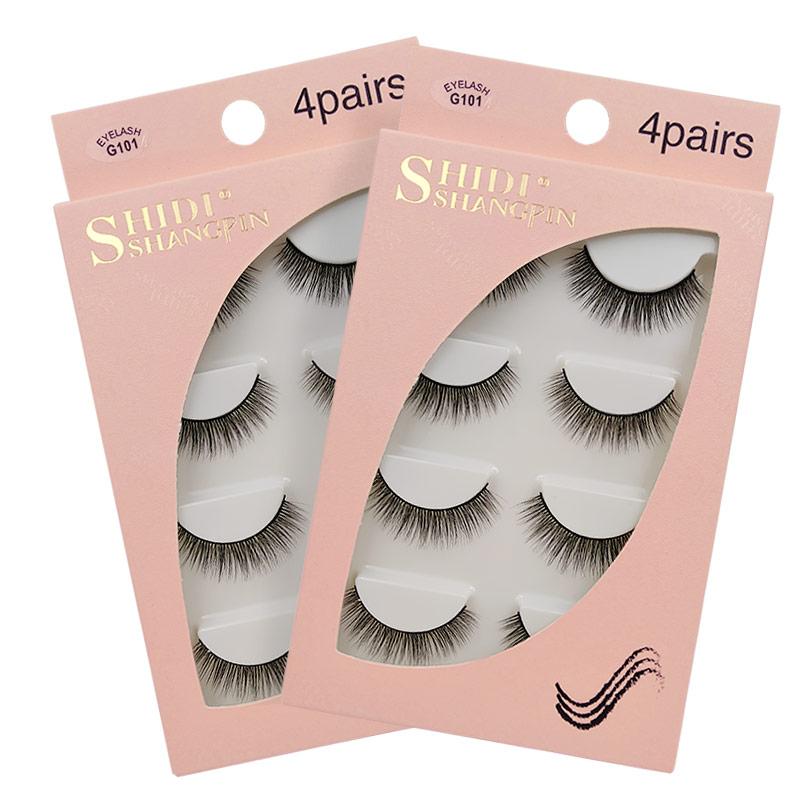 4Pairs/Box Mink Eyelashes 100% Cruelty Free False Lashes Natrual Long 3D Mink False Eyelashes Reasuable Makeup 3D Maquiagem