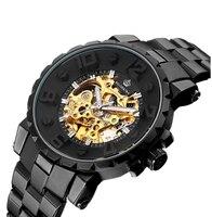 MG. ORKINA Men's Wrist Watch Gold Skeleton Mechanical Watch Men's Wrist Watch Black Men's Automatic Watch mechanical watch men
