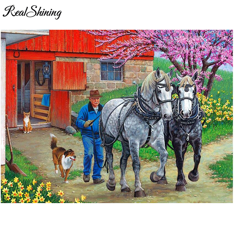 REALSHINING Horses Farmer diy 5d diamond painting cross stitch full square mosaic diamond embroidery home decoration FS1469