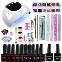 24W UV Lamp For Nail Set For Manicure Nail Art Set Gel Nail Polish Set UV Gel Polish Tools For Manicure All For Manicure Tools