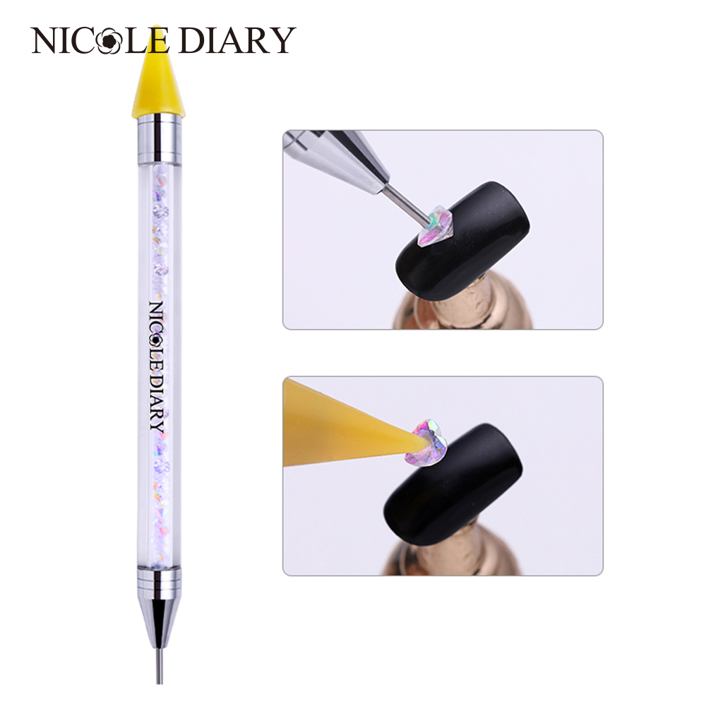 NICOLE DIARY 1 Pc Dual-ended Wax Dotting Pen Nail Art Rhinestone Studs Picker Crystal Beads Handle Manicure Tools