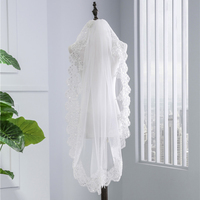ZYLLGF Women Wedding Vail Lace Bridal Veil Short Veil Wedding Ivory Wedding Accessories Bride BL24