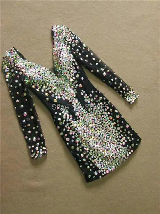 Fashion 2017 Women Colorful Rhinestone Dresses Ds Costume Female Singer Stage Wear Resin Diamond Short One-piece Formal Dress