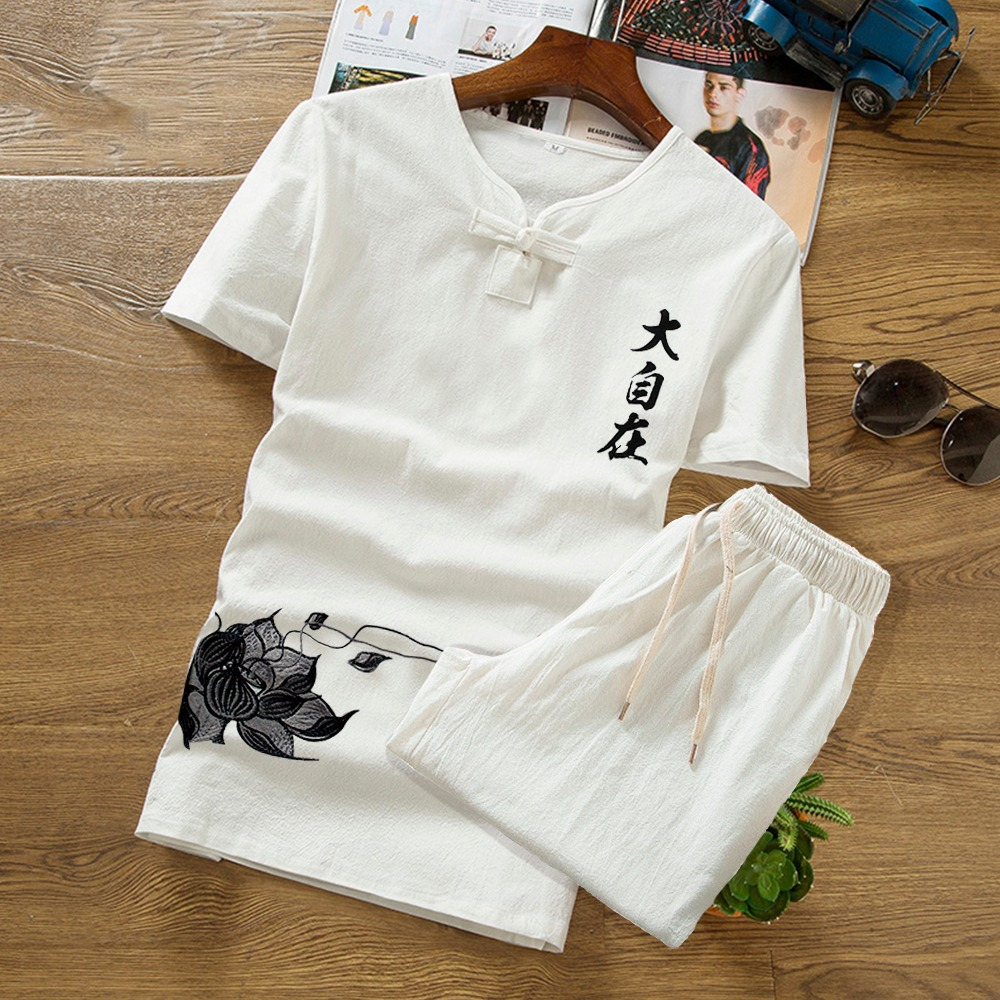 Short-sleeved T-shirt Men V-neck Suit Casual Shorts Clothes Summer Clothing Set Button Summer Print Linen Set M-5XL