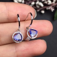 REAL18K Gold Weight 1 34g Earrings Perfact 100 Natural Tanzanite Earrings Fine Jewelry For Women Decorates