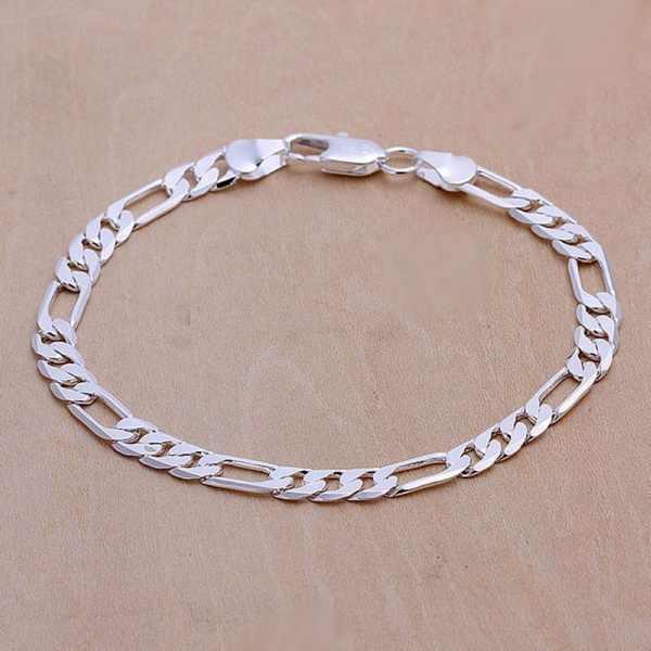 Gorąca sprzedaż srebrny wykwintne 6mm bransoletki i łańcuszki na rękę modny urok kobiety lady ładny ładny prezent biżuteria srebrna prezent urodzinowy H219