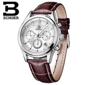 Image 5 - Switzerland BINGER Mens Watch Luxury Brand Quartz waterproof Genuine Leather Strap auto Date Chronograph Male Clock BG6019 M