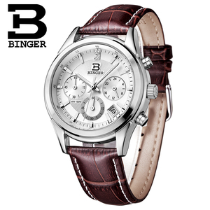 Image 5 - Szwajcaria BINGER męski zegarek luksusowy marka kwarcowy wodoodporny pasek ze skóry naturalnej chronograf automatyczna data męski zegar BG6019 M